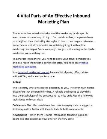4 Vital Parts of An Effective Inbound Marketing Plan