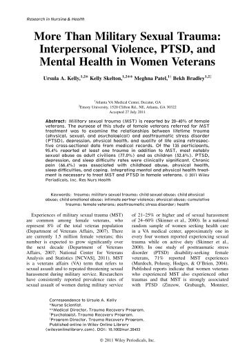 More than military sexual trauma - National Center on Domestic and ...