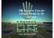 The Business Case for Virtual Worlds in 3D Internet