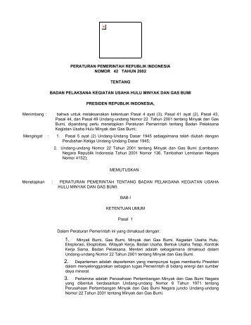 peraturan pemerintah republik indonesia nomor 42 tahun 2002