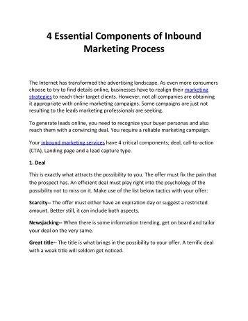 4 Essential Components of Inbound Marketing Process