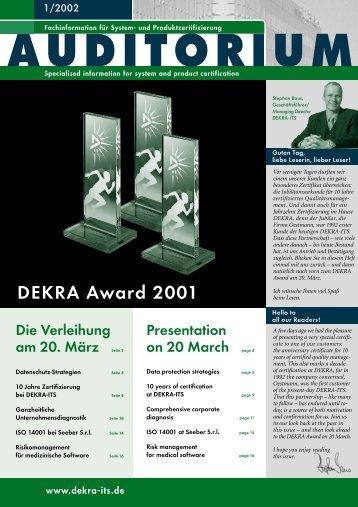 DEKRA Award 2001 - DEKRA Certification