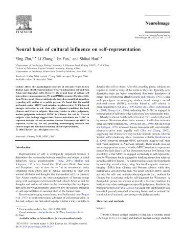 Neural basis of cultural influence on self-representation