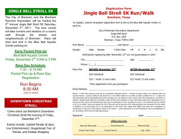 Jingle Bell Stroll 5K Run/Walk Registraion Form - City of Brenham
