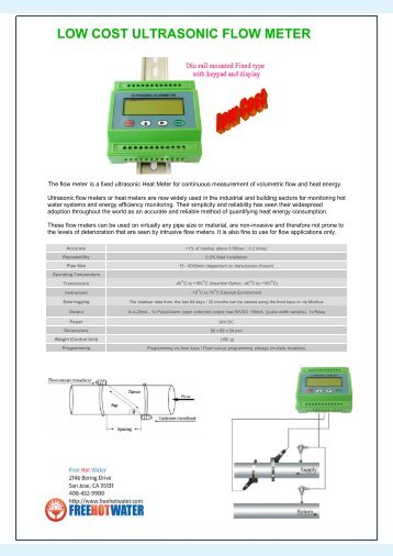 LOW COST ULTRASONIC FLOW METER - Free Hot Water