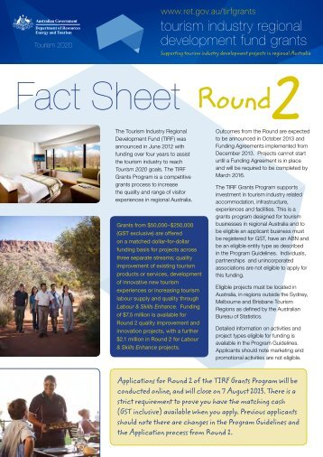 Fact Sheet - Department of Resources, Energy and Tourism