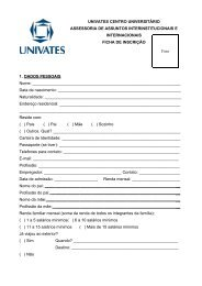 Clique aqui para fazer o download da ficha de inscrição ... - Univates