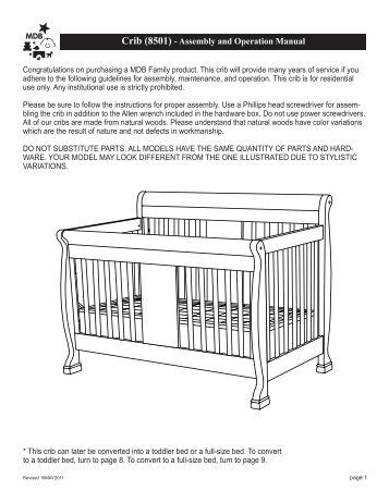 assembly directions and parts list - Baby Furniture Plus Kids