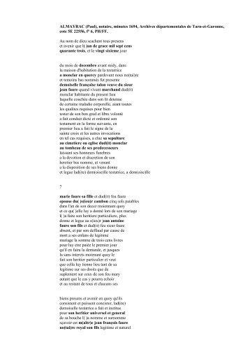 1743 Testament Francoise Talon veuve Jean Faure