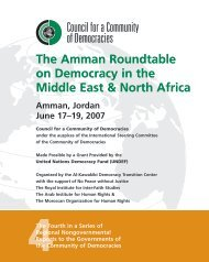The Amman Roundtable on Democracy in the Middle East & North ...