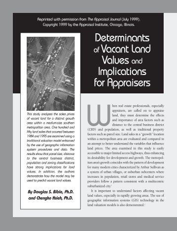 Determinates of Vacant Land Values and Implications for Appraisers