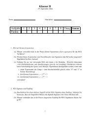 Klausur II Aufgabe 1 2 3 4 5 6 7 Punkte