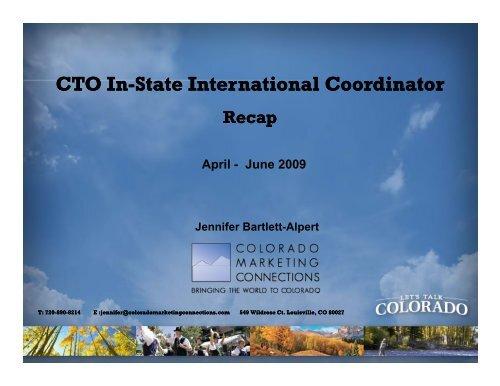 CTO In-State International Coordinator State ... - Colorado.com