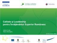 Deschiderea lucrărilor – Prezentarea - Calitate si Leadership pentru ...