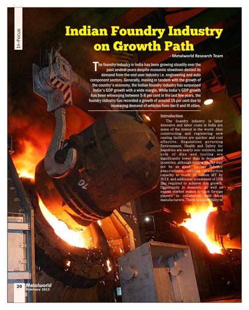 Indian Foundry Industry on Growth Path Indian ... - Metalworld.co.in