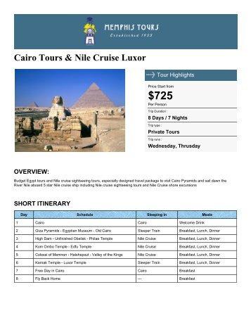 Cairo Tours & Nile Cruise Luxor - Memphis Tours Egypt