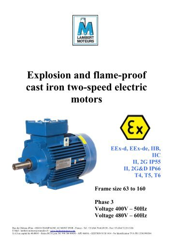 Explosion and flame-proof single phase electric motors - LAMBERT ...