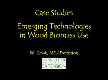 Case Studies Emerging Technologies in Wood Biomass Use