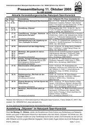 Pressemitteilung 11. Oktober 2005 - Naturpark Saar-Hunsrück