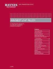 HAYNES ® 214 ® alloy Brochure - Haynes International, Inc.