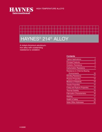 HAYNES ® 214 ® alloy Brochure - Haynes International, Inc.