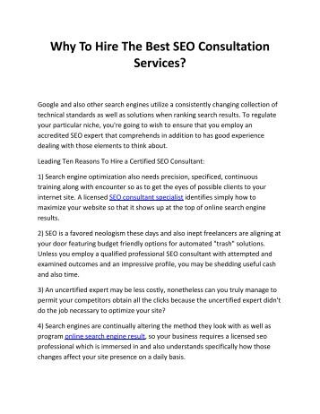 Why To Hire The Best SEO Consultation Services?