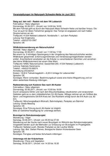 Veranstaltungen Juni 2011 - LVR 1 - Naturparke Rheinland