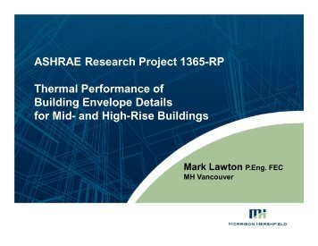 ASHRAE Research Project 1365-RP Thermal Performance of ...