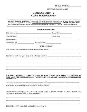 Notice of Claim form - Douglas County