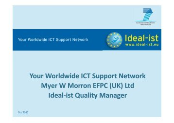 Ideal-ist, Your Worldwide ICT Support Network - NEM Initiative