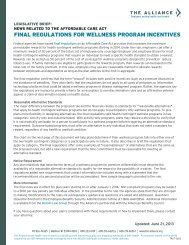 New Regulations for Wellness Program Incentives - The Alliance