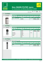 New MANN-FILTER types for construction - Mann & Hummel