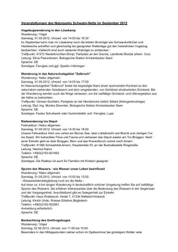 Veranstaltungen September 2012 - LVR - Naturparke Rheinland