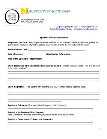 1 Speaker Information Form