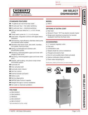 Parts Manual hobart Crs66aw