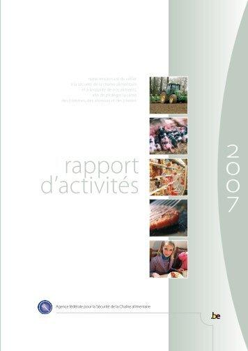 Rapport d'activités 2007 de l'AFSCA - FAVV
