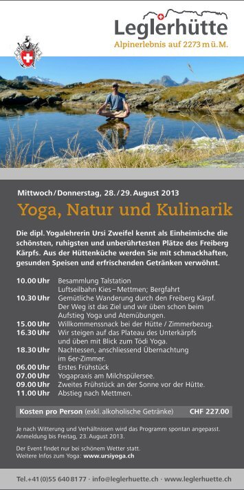 Yoga, Natur und Kulinarik - Leglerhütte