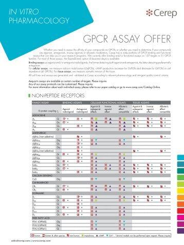 gpcr assay oFFer - Cerep