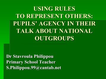 pupils' agency in their talk about national outgroups