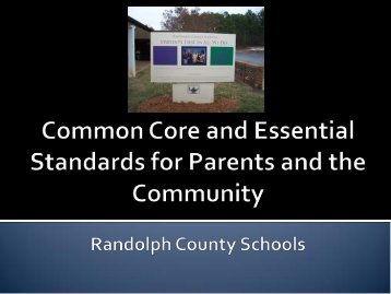 Common Core for Families Information - Randolph County Schools