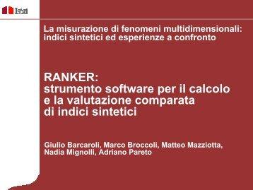 RANKER: strumento software per il calcolo e la valutazione ... - Istat.it