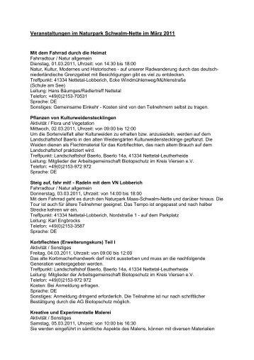 Veranstaltungen März 2011 - LVR - Naturparke Rheinland