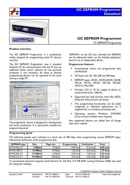 I2C EEPROM Programmer Datasheet I2C EEPROM Programmer