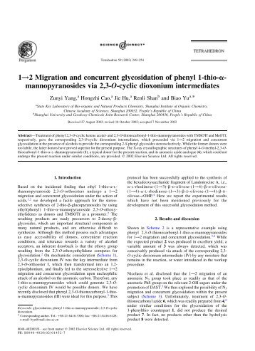 1!2 Migration and concurrent glycosidation of phenyl 1-thio-a ...