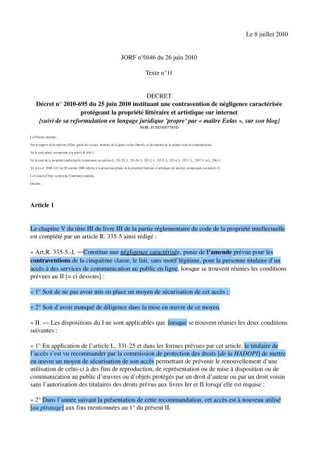 Le 8 juillet 2010 JORF n°0146 du 26 juin 2010 Texte n ... - Globenet