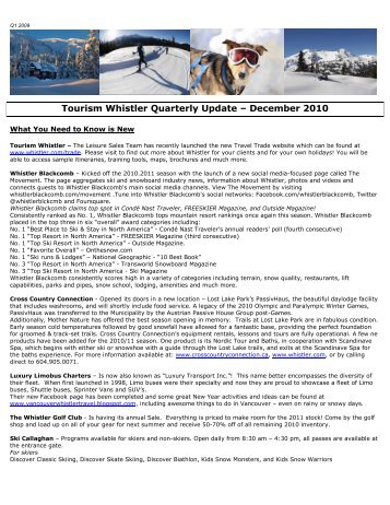 Tourism Whistler Quarterly Update – December 2010 - the Tourism ...
