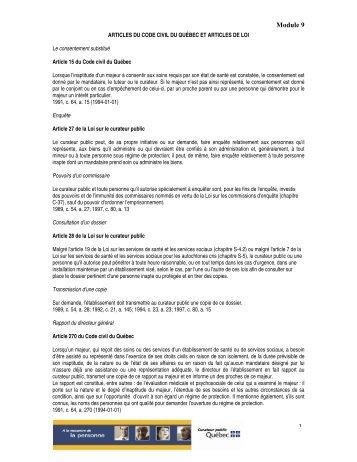 Articles de loi module 9 - Le Curateur public du Québec