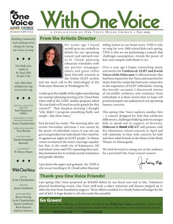 2009 Fall Newsletter - One Voice Mixed Chorus