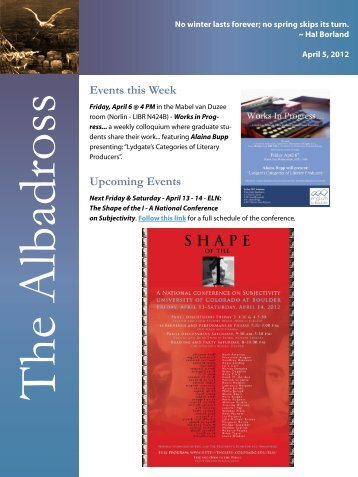 Events this Week Upcoming Events - CU English Department