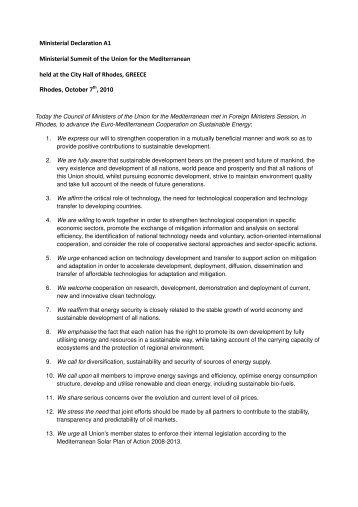 Ministerial Declaration A1 Ministerial Summit of the Union for the ...
